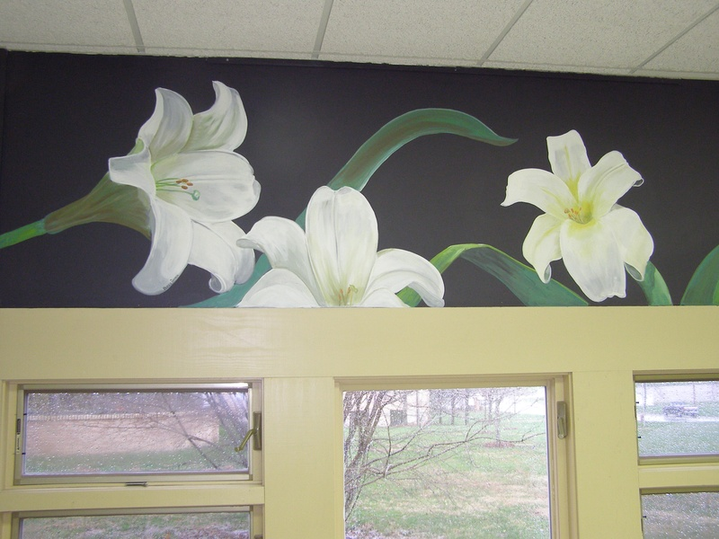 Lilies - detail of classrooom mural - SVHS