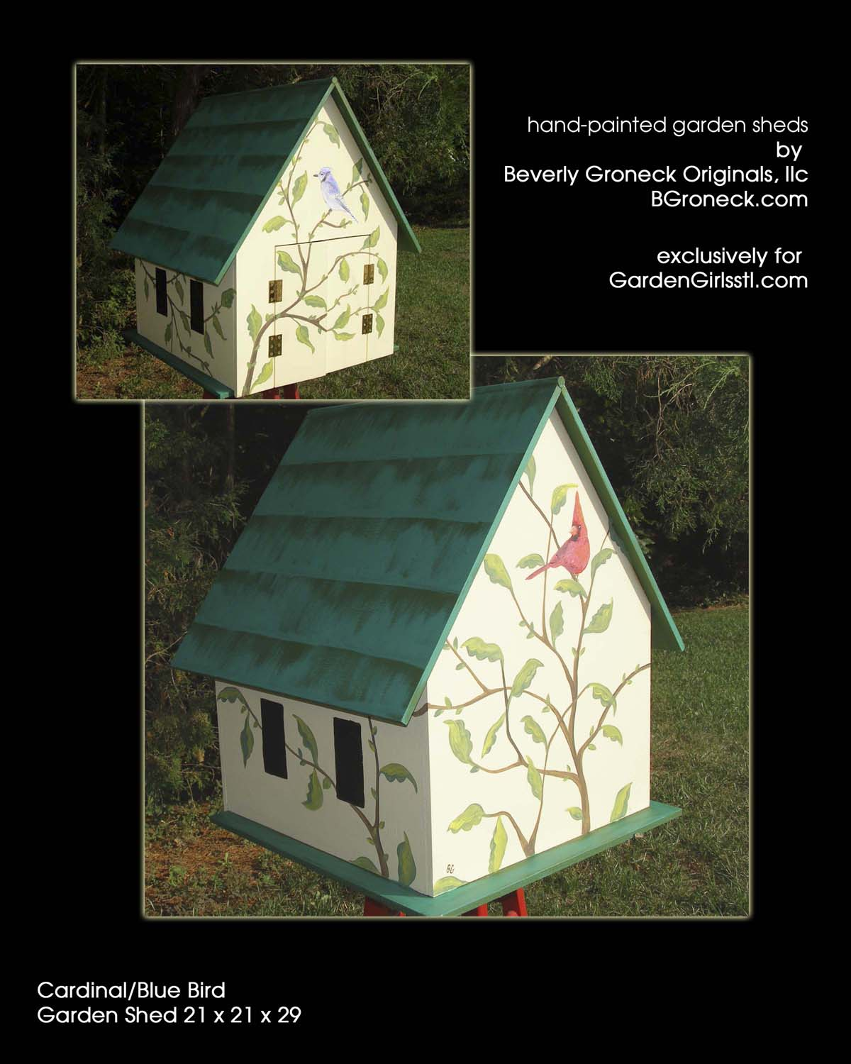 "Garden Girls, ""Song Birds"" garden shed"