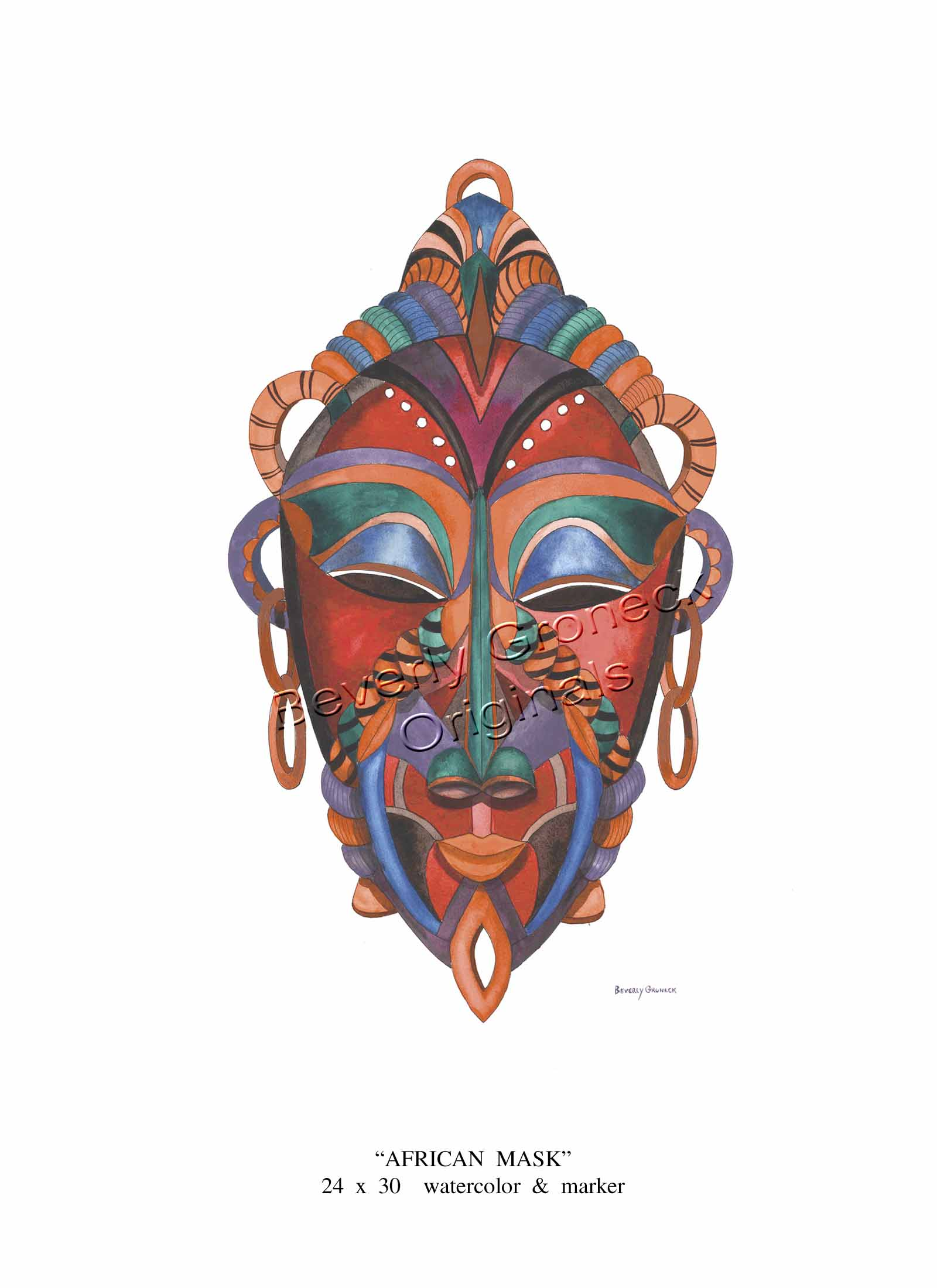 Tribal Mask watercolor